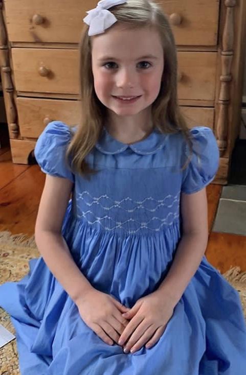 handmade lavender blue smocked dress - birthday party dress