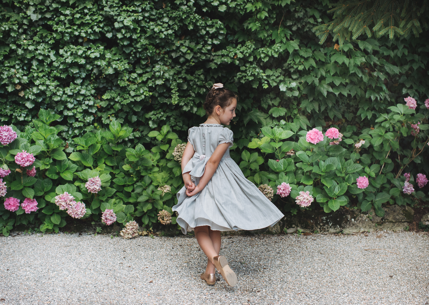 Pearl grey Amandine smocked dress