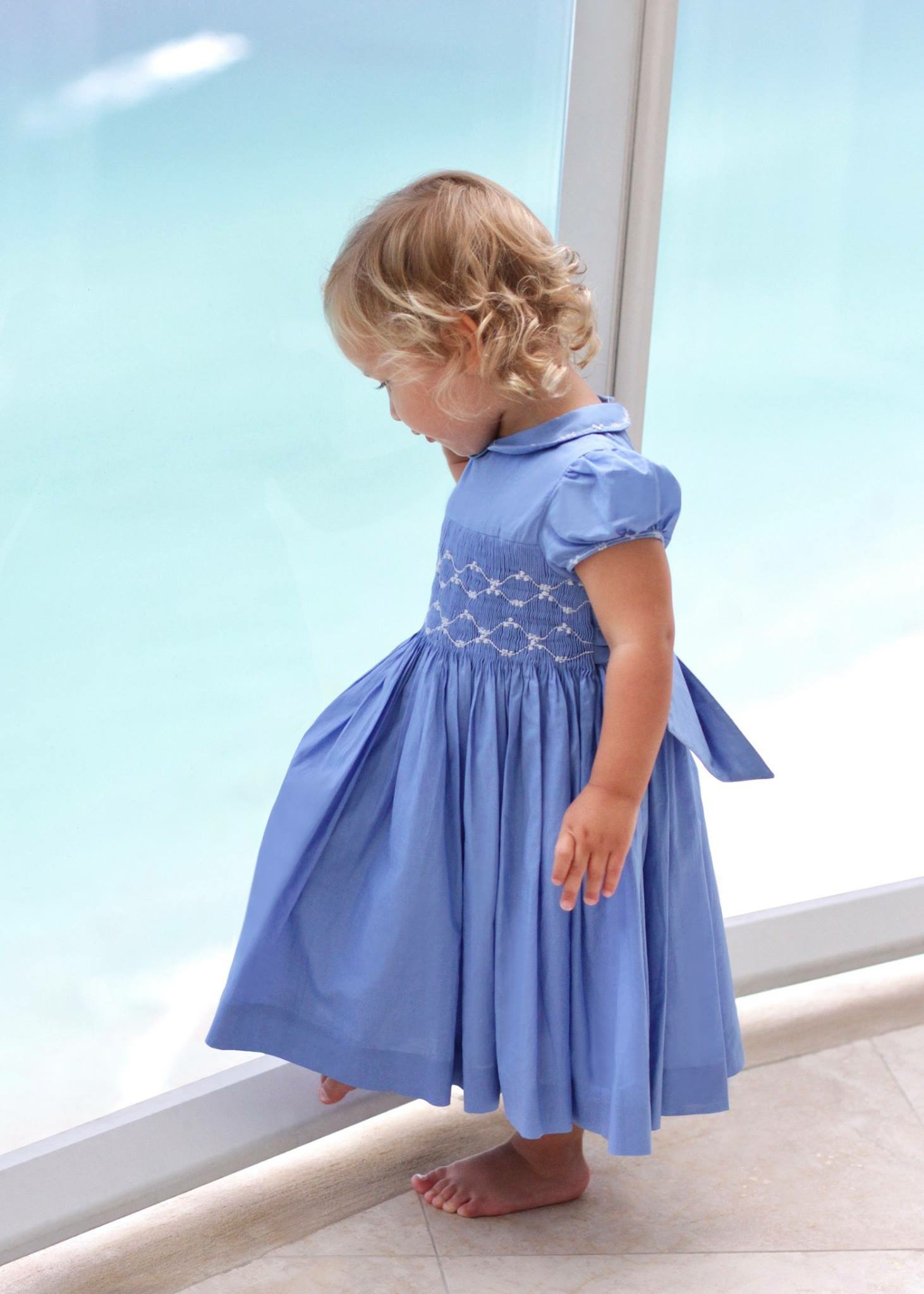 Lavender blue smocked dress