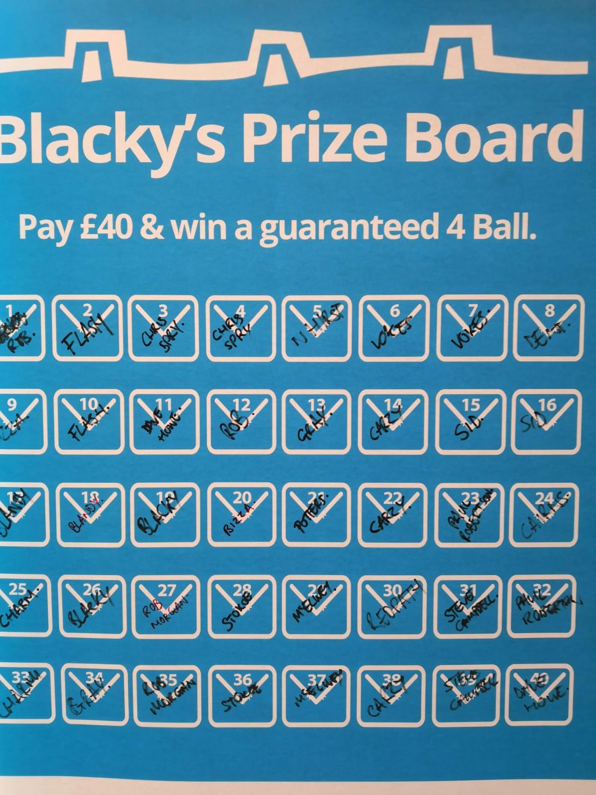 Mr Black's Prize Board