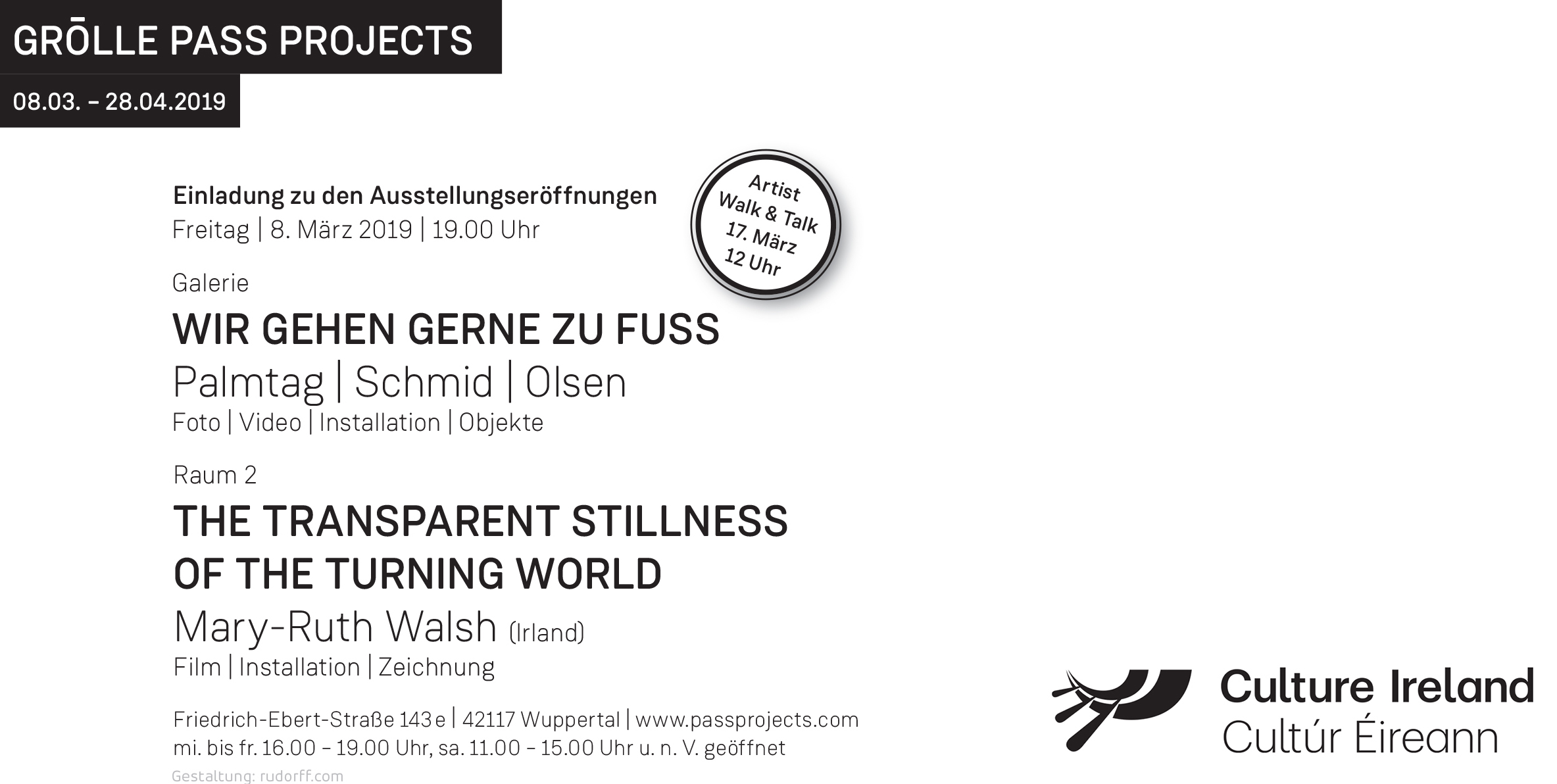 Grölle Pass Projects, RAUM2,  The Transparent Stillness of the Turning World  opening 8 March - 28 April 2019 - new collages, paintings, blueprints and a selected film from Walsh's archive. Galerie showing Palmtag, Schmid and Olsen - photos, video, installation and objects.