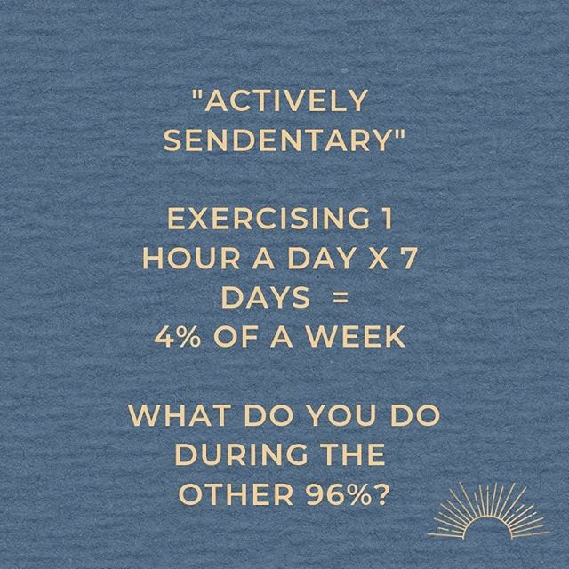 """Most activity advice is geared to fitting in a bout of exercise into your schedule. How many of us manage 1 hour every day to achieve that 4%? Perhaps our focus should turn to interrupting those long periods of immobility within that 96% not with more exercise but by developing a """" more movement """" mindset."""