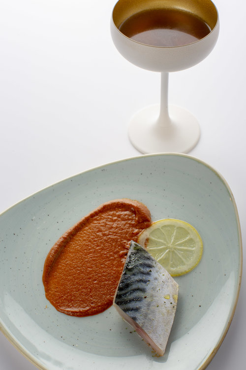 Chris Naylor | Marinated Mackerel with paprika puree and olive bouillon