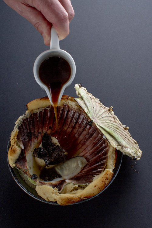 Chris Naylor | Scallop baked in bread with black truffle and celeriac jus