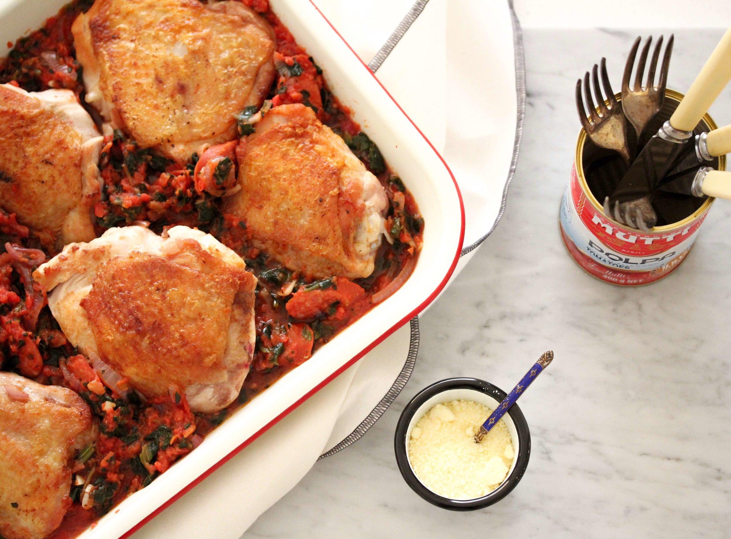 Chorizo, Tomato, Spinach and Chicken Tray Bake