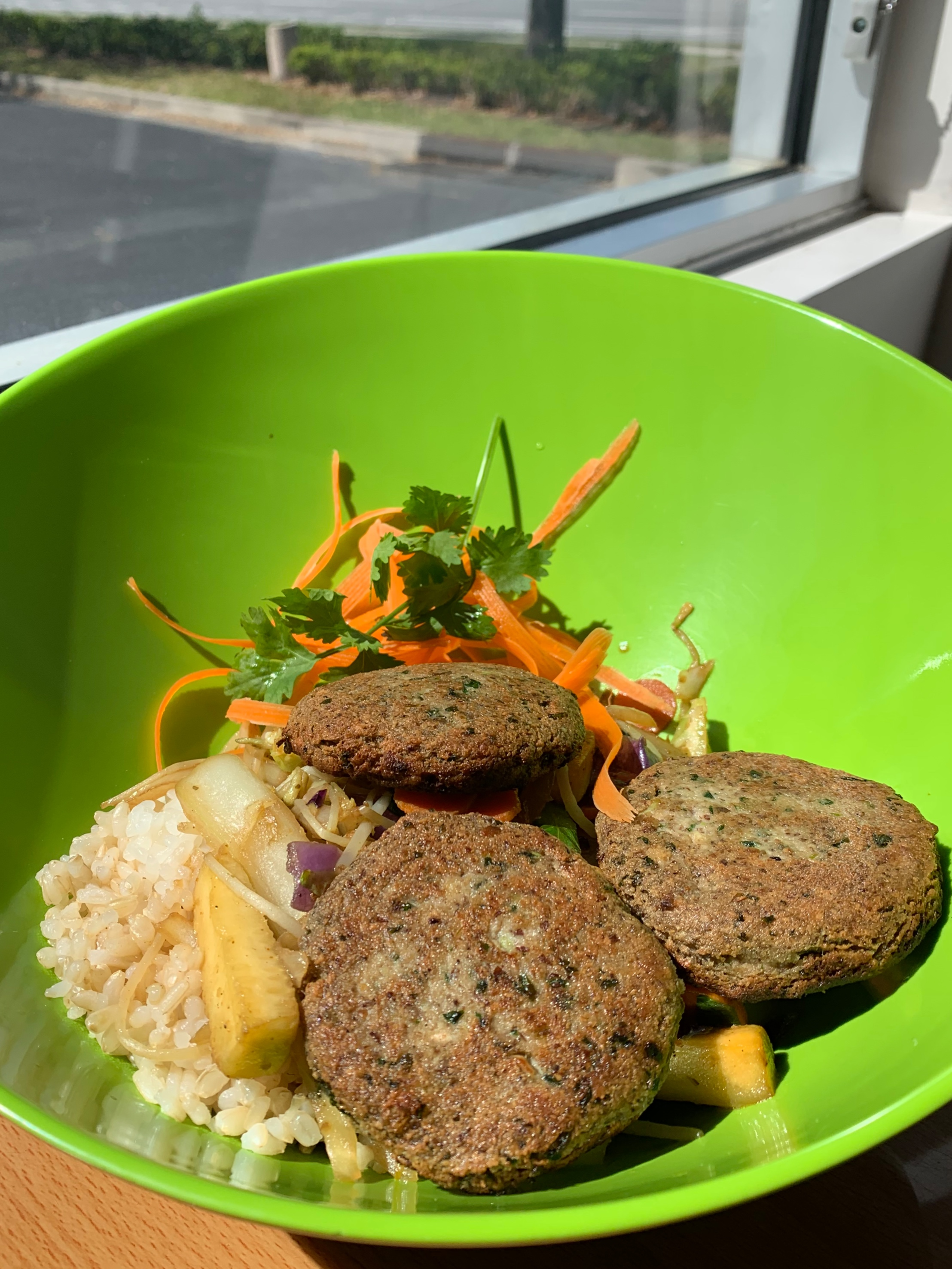 Leaf & Bean Rice Bowl with Tofu Croquette -
