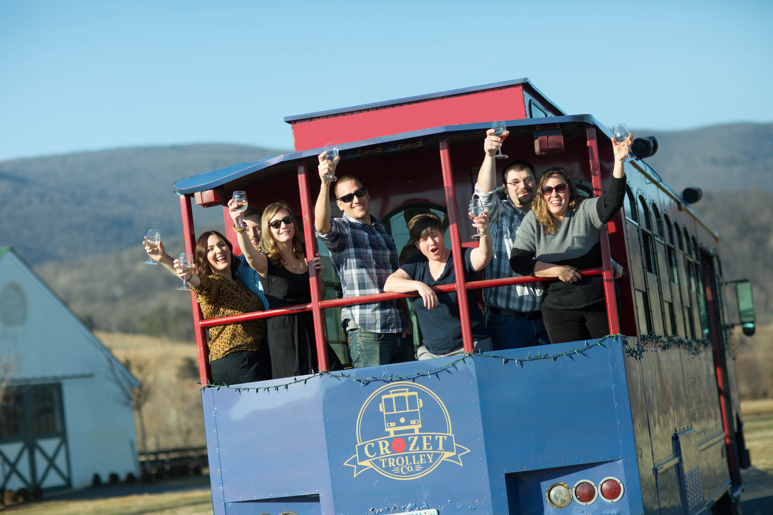 Tour Charlottesville area wineries and breweries on a trolley