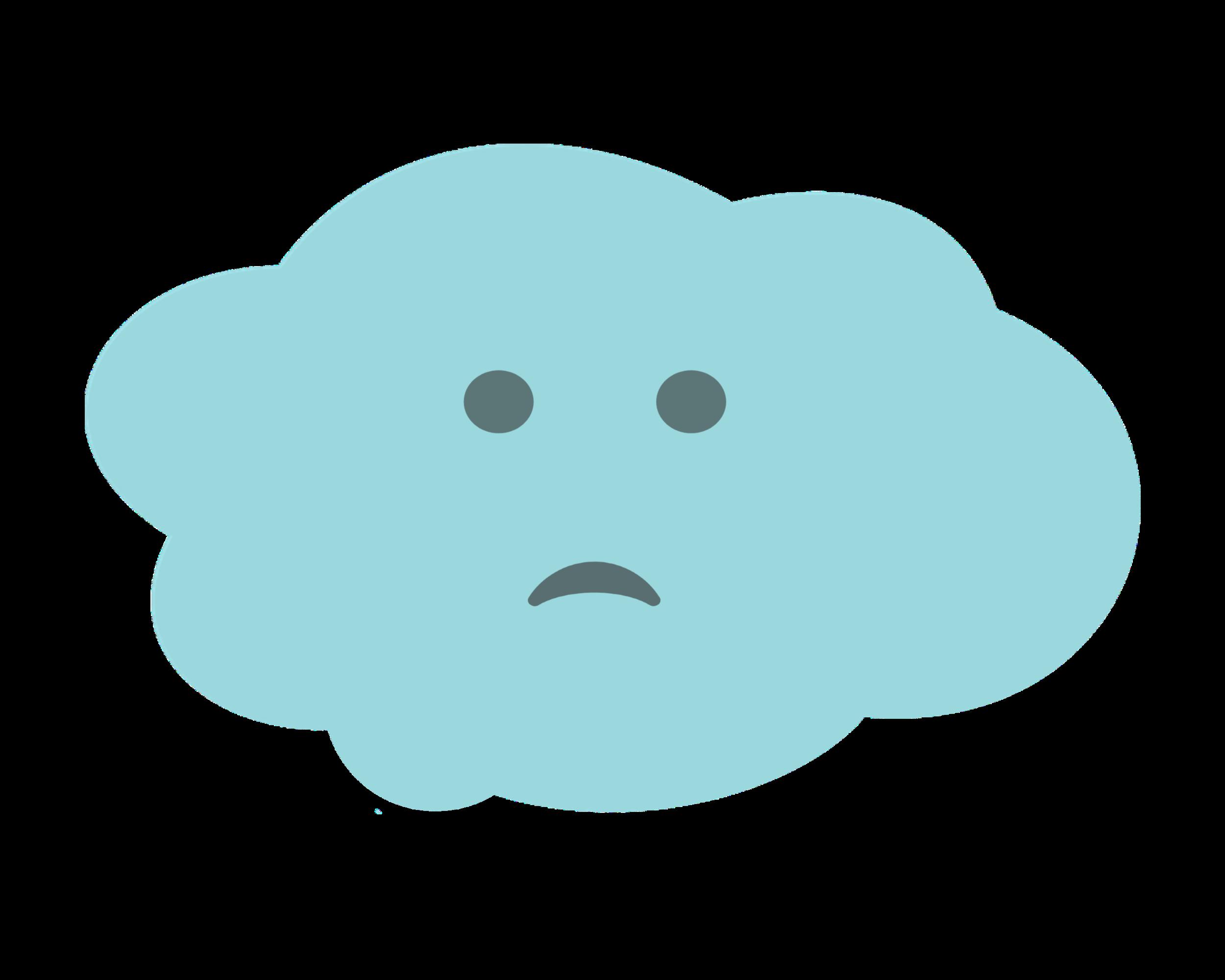 Blue cloud with sad face