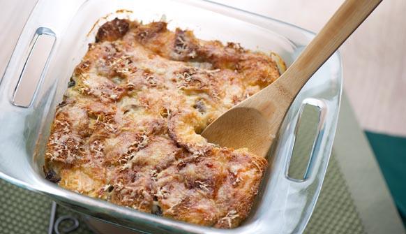 Fontina Parmesan Mushroom Bread Pudding in dish