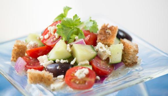 Greek Panzanella with vegetables