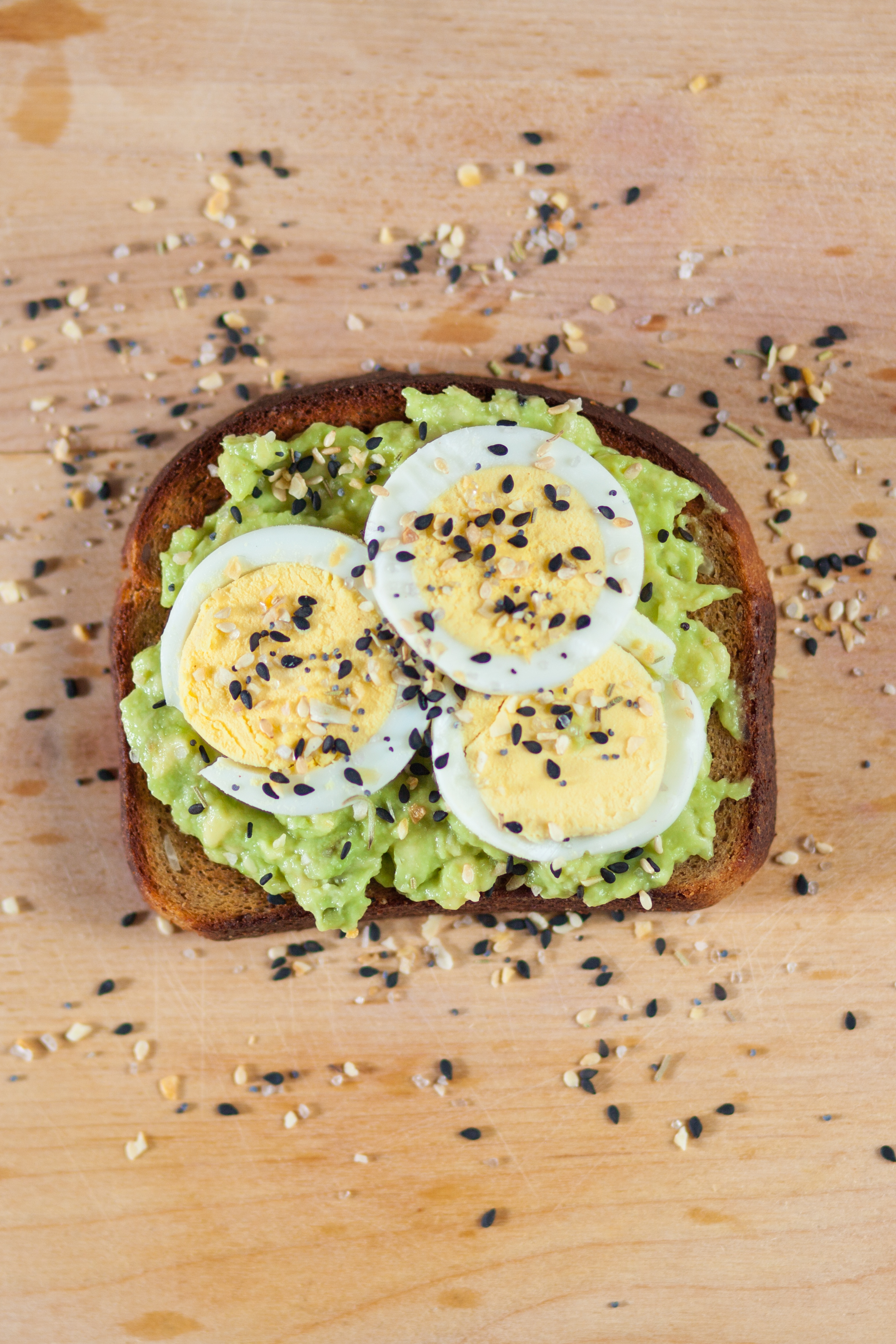 Toast with avocado and hard boiled eggs