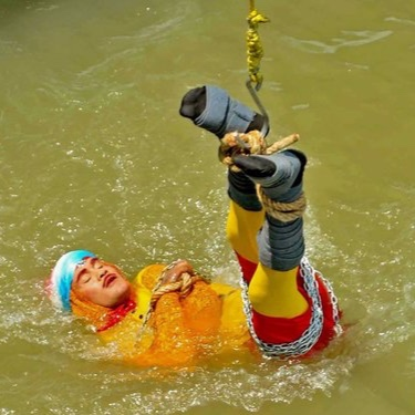 "16 JUNE 2019 : Indian magician  CHANCHAL LAHIRI , aka  JADUGAR MANDRAKE  (""Wizard Mandrake""), was lost in an escape attempt, after being lowered by crane into the Hooghly River in Kolkata, West Bengal, bound in rope and steel chains. He was forty."