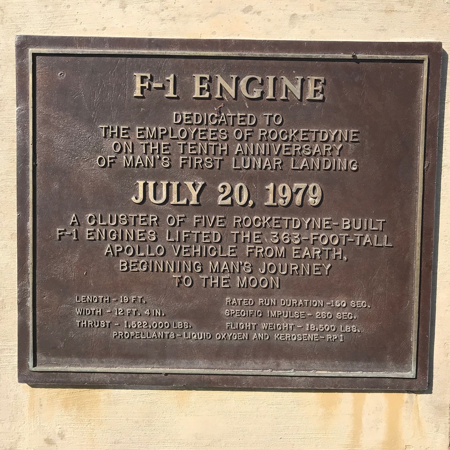 Bronze plaque at base of F-1 Engine.