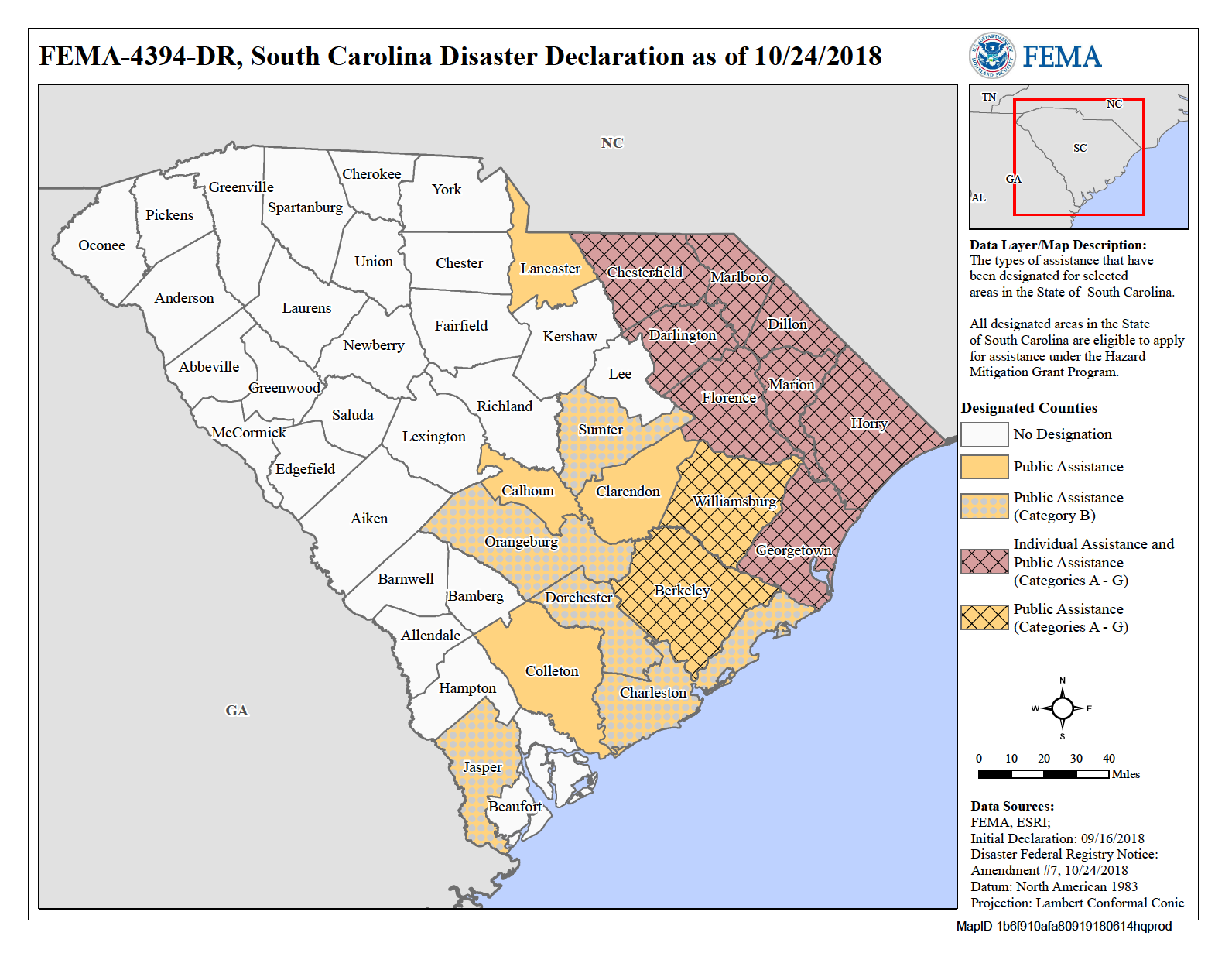 Incident Period: September 8 - October 8, 2018 - South Carolina Counties declared disasters due to Hurricane FlorenceChesterfield, Darlington, Dillon, Florence, Georgetown, Horry, Marion, and Marlboro(Disaster Relief is helping in all Counties)