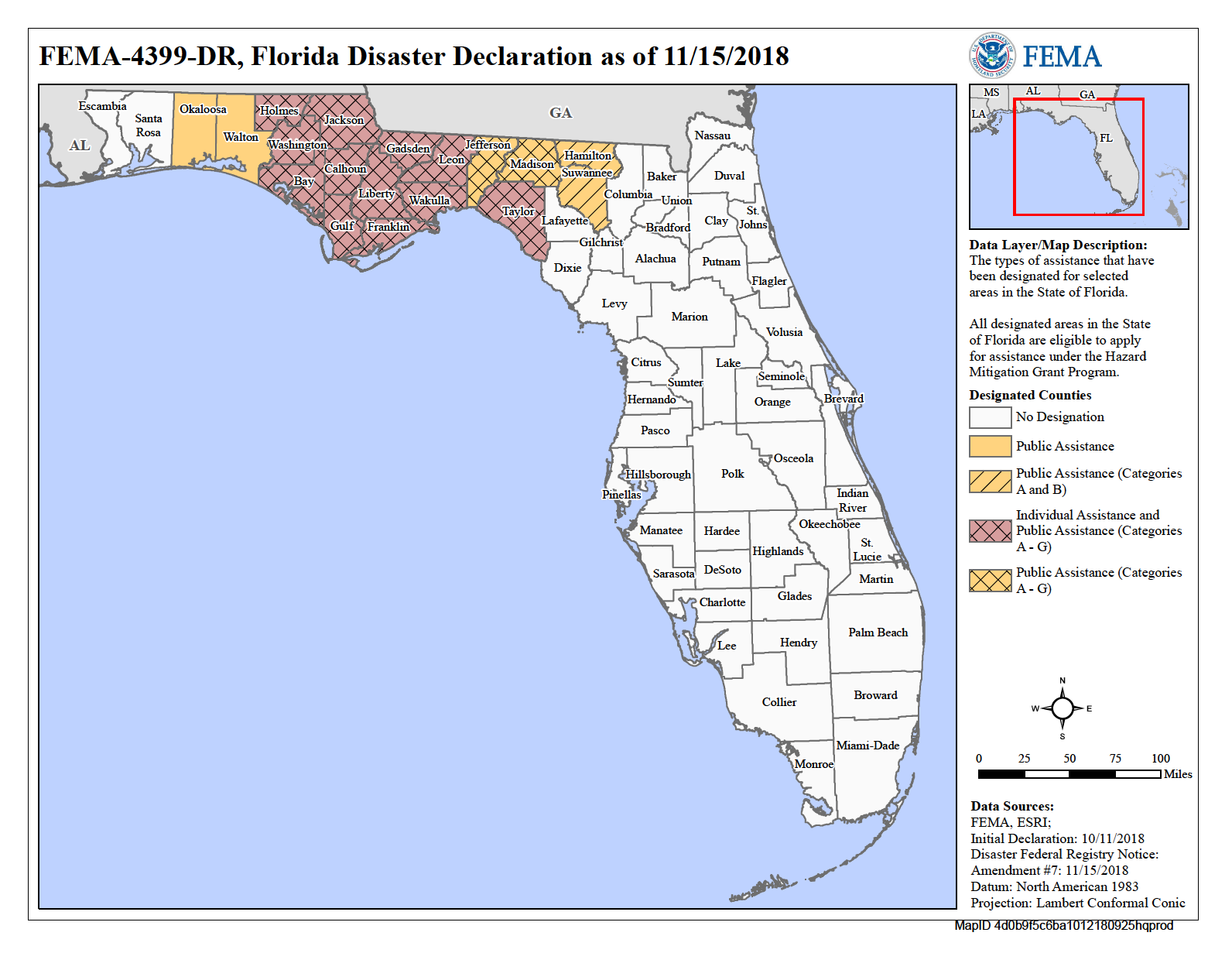 Incident Period: October 7 - October 19, 2018 - Florida Counties declared disasters due to Hurricane MichaelBay, Calhoun, Franklin, Gadsden, Gulf, Holmes, Jackson, Liberty, Taylor, Wakulla, and Washington(Disaster Relief will be helping in all counties)