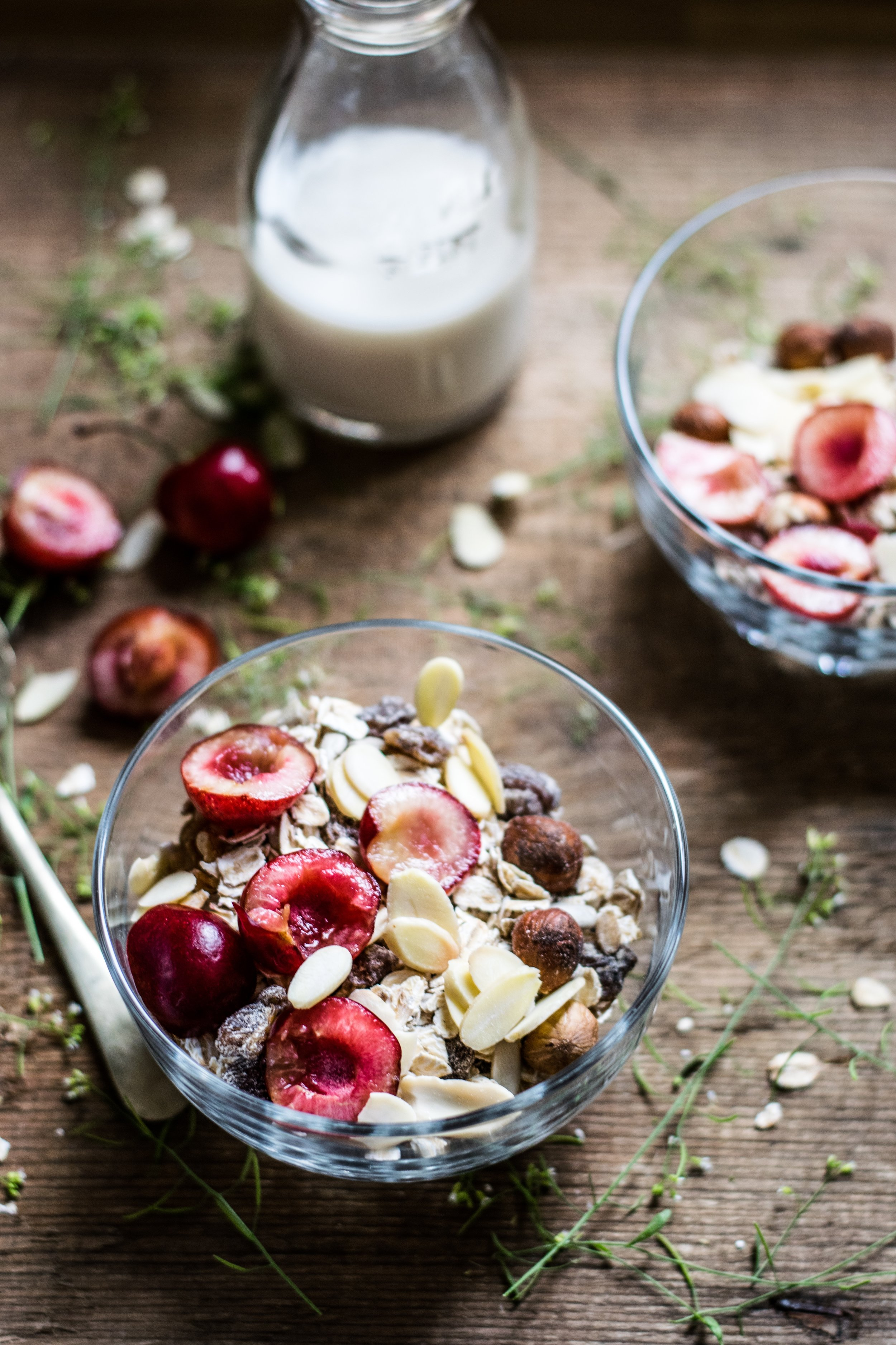 Homemade Nut Milk Almond Milk with Granola Cereal and Fruit Completely Golden Recipe.jpg