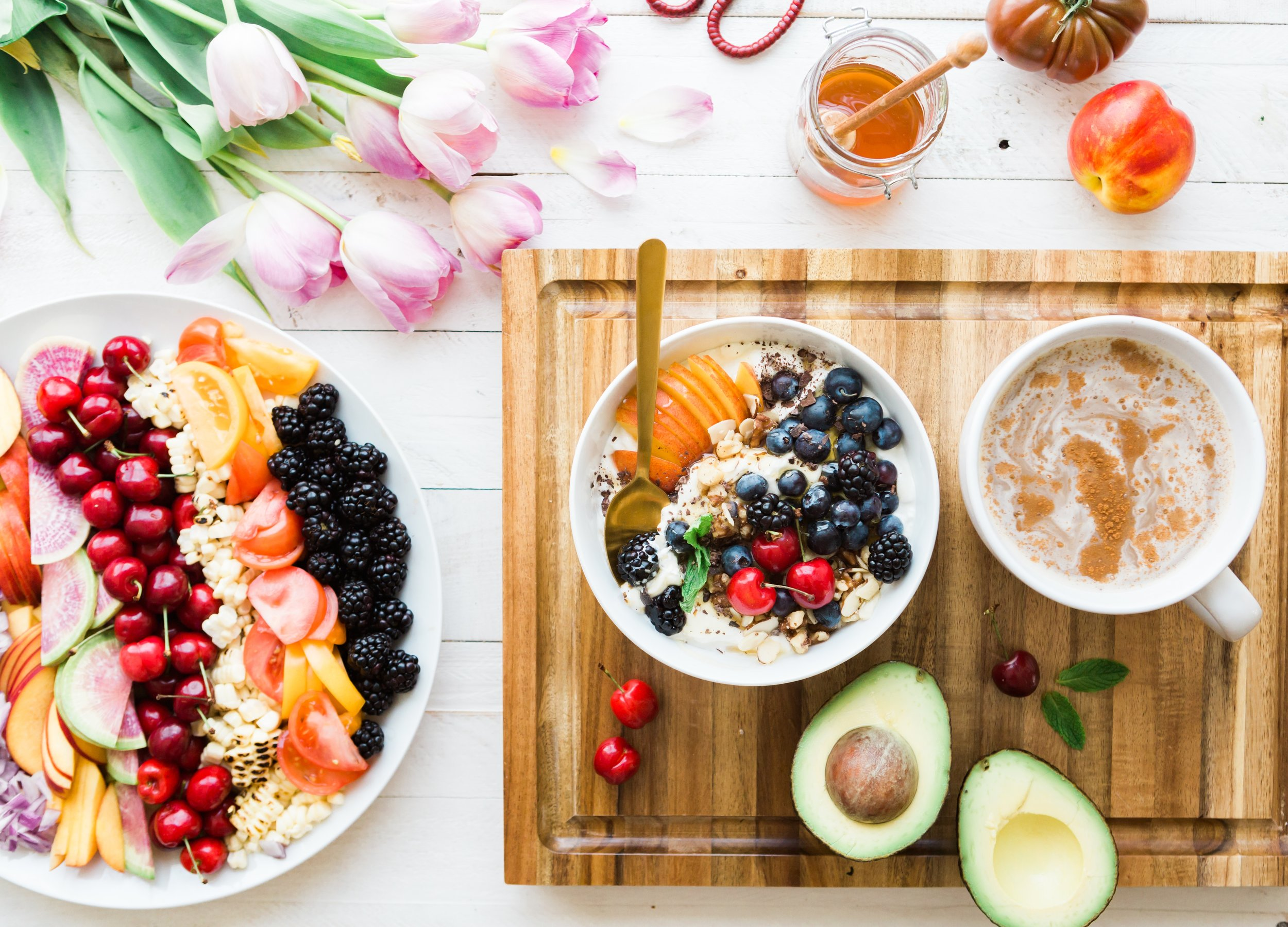 My Food Journey from Vegan to Omnivore by Completely Golden Tess Palma-Martinez breakfast platter avocado honey and fruit.jpg