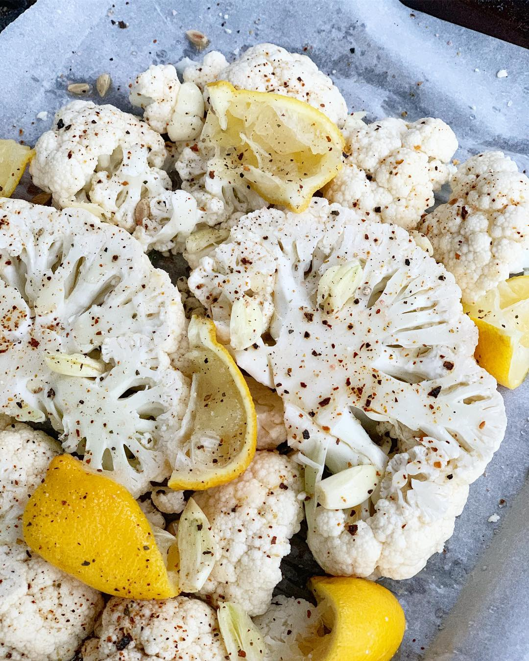 Roasted Lemon Cauliflower with Crushed Red Pepper and Garlic by Completely Golden Tess Palma-Martinez.jpg