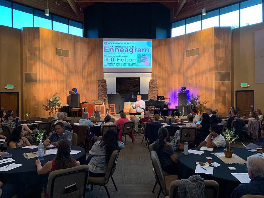 Speaking at Journey Church, presenting an Introduction to the Enneagram