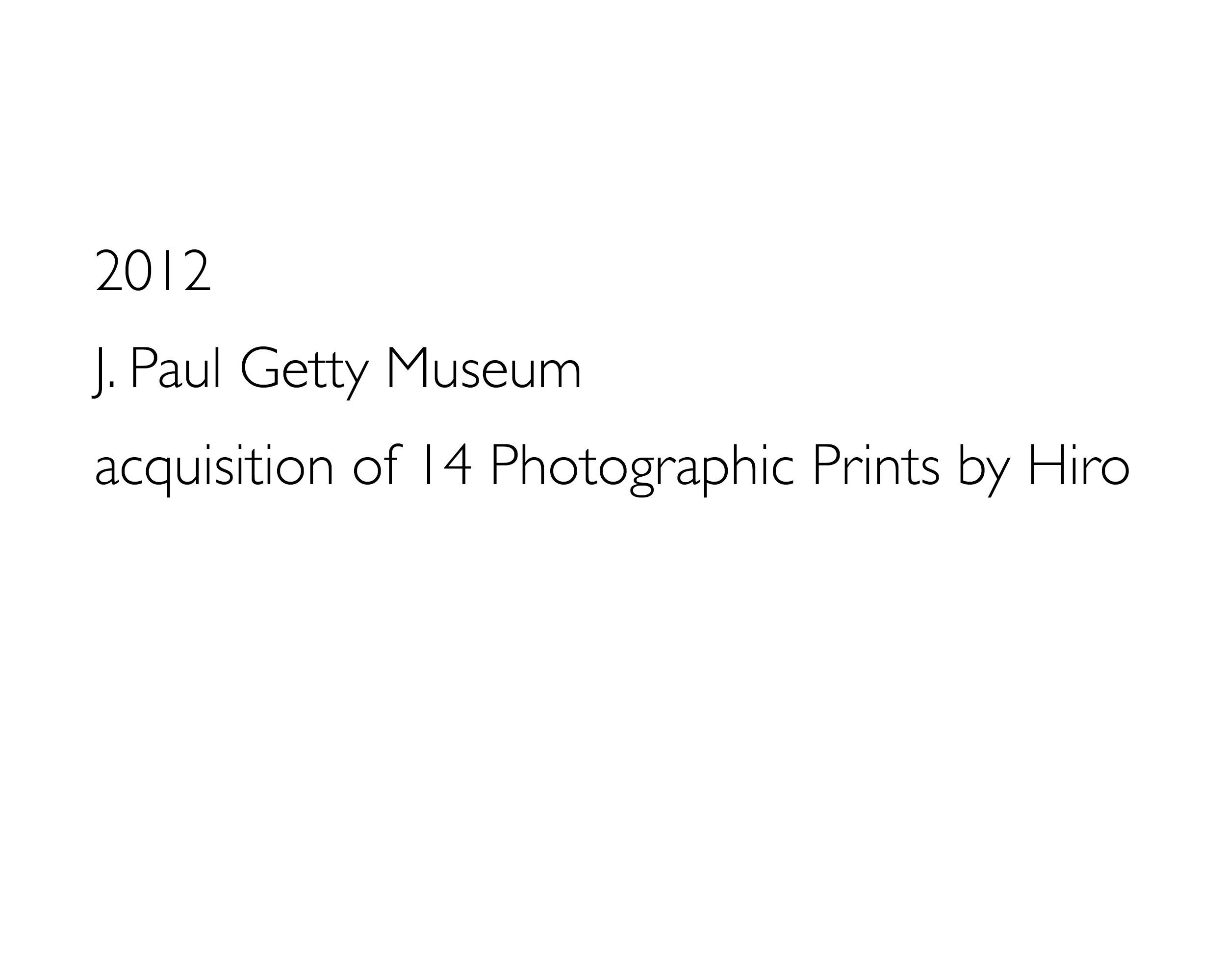 HIRO, J. Paul Getty Museum Print Acquisition, 2012