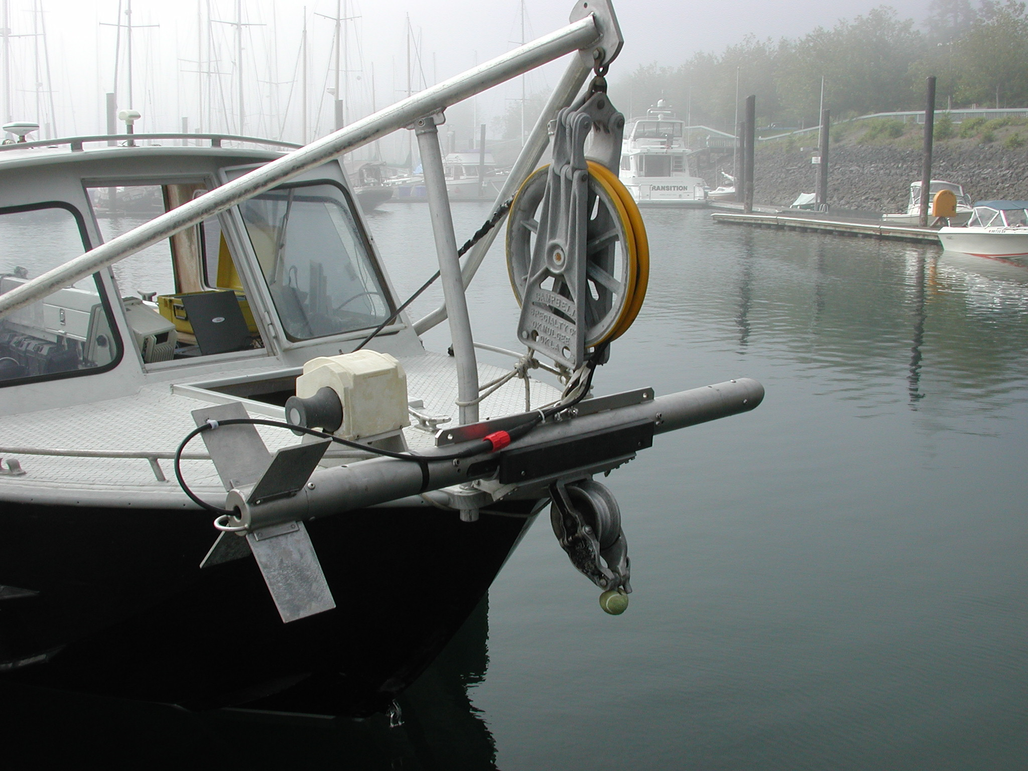Figure 1. Survey skiff with string block and towfish on bow
