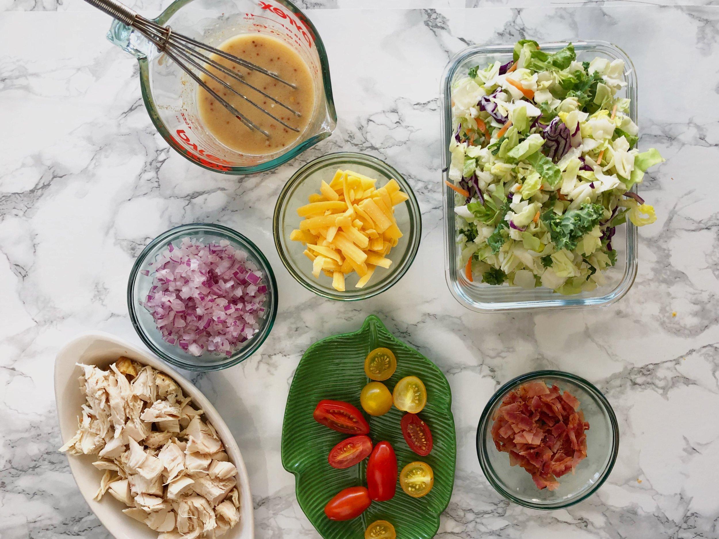 Chopped cobb salad jar meal prep 1