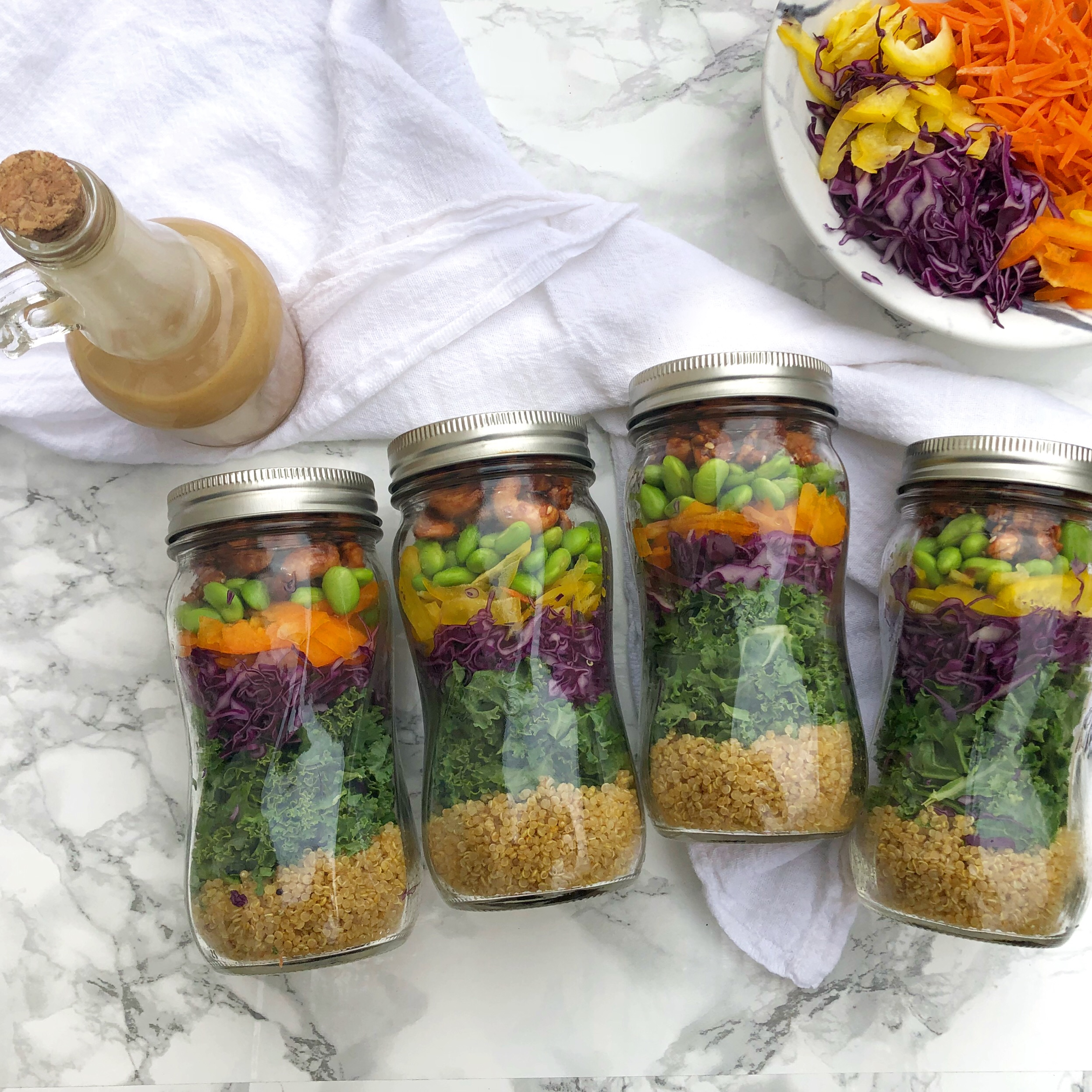 Thai Quinoa Crunch Salad Jars, vegan meal prep 3