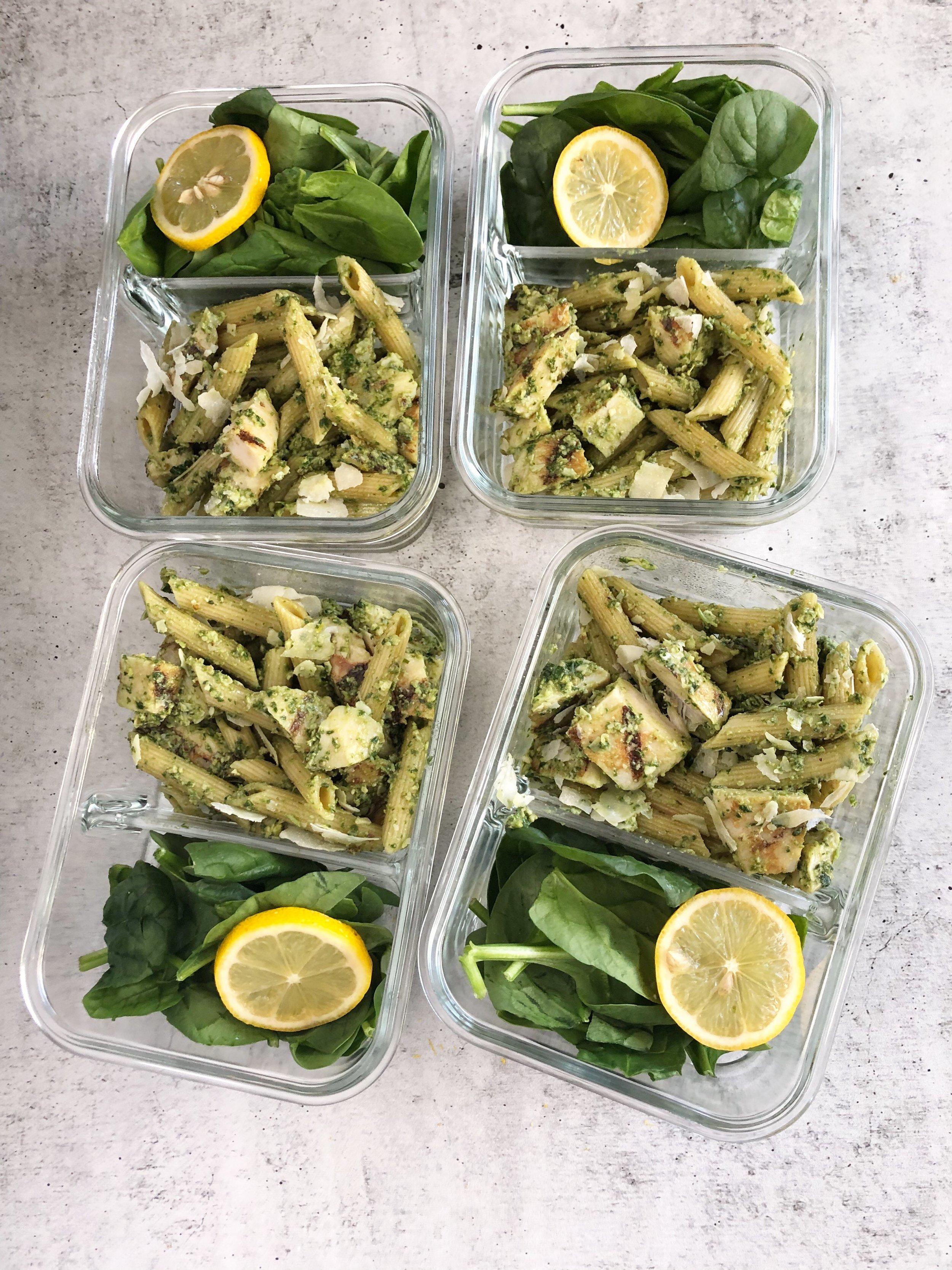 Lemon basil pesto meal prep, pasta meal prep 3