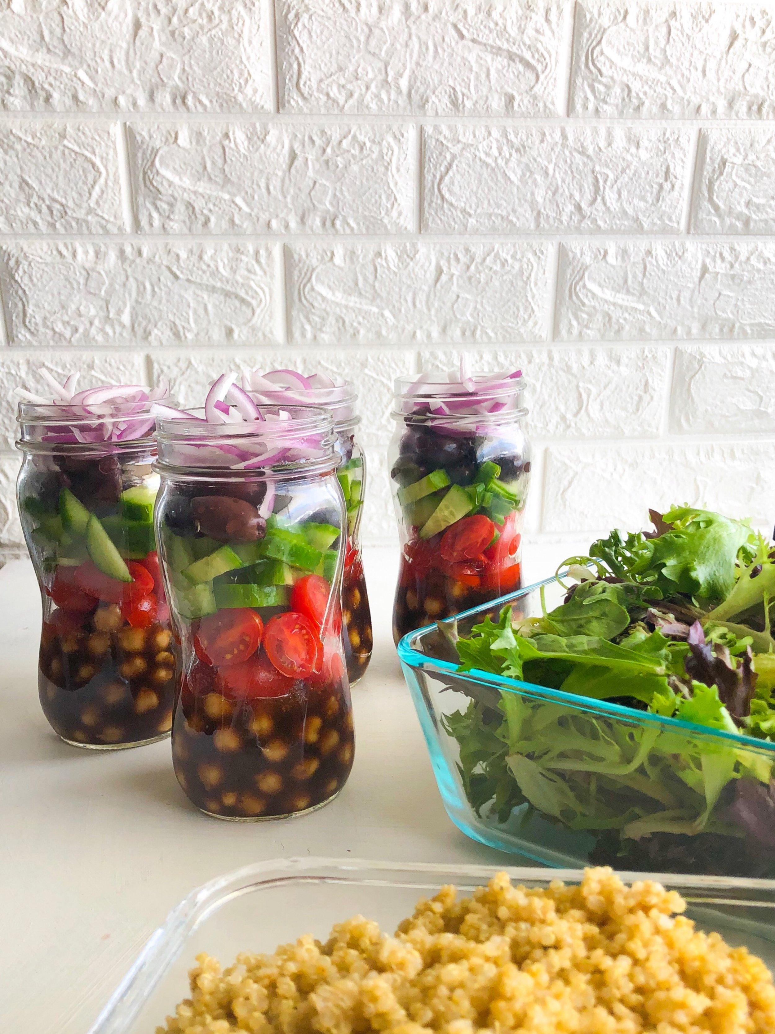 Vegan Mediterranean Salad Jars, Greek salad jar 4