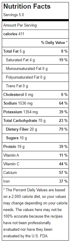 Vegan White Bean Chili Nutrition Facys.PNG