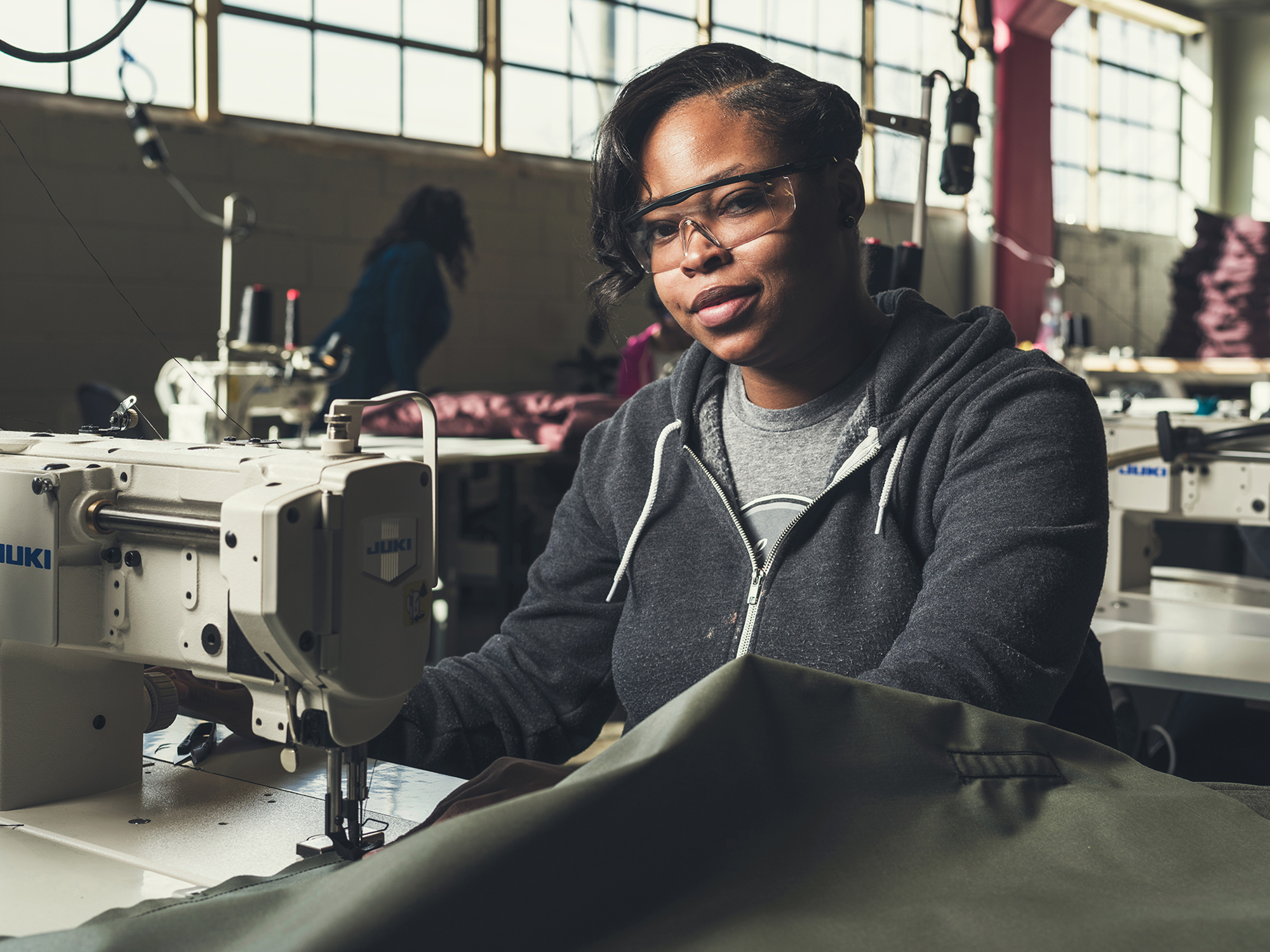 We provide employment and training to homeless parents who manufacture sleeping bag coats for those in need. -