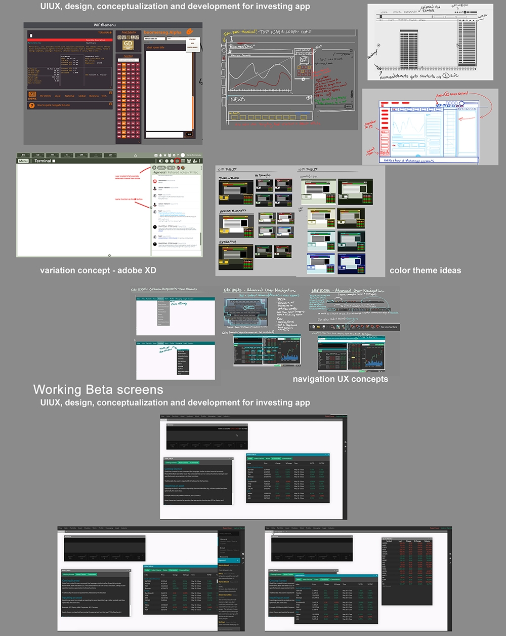 Various stages of concept to screenshots of a working build