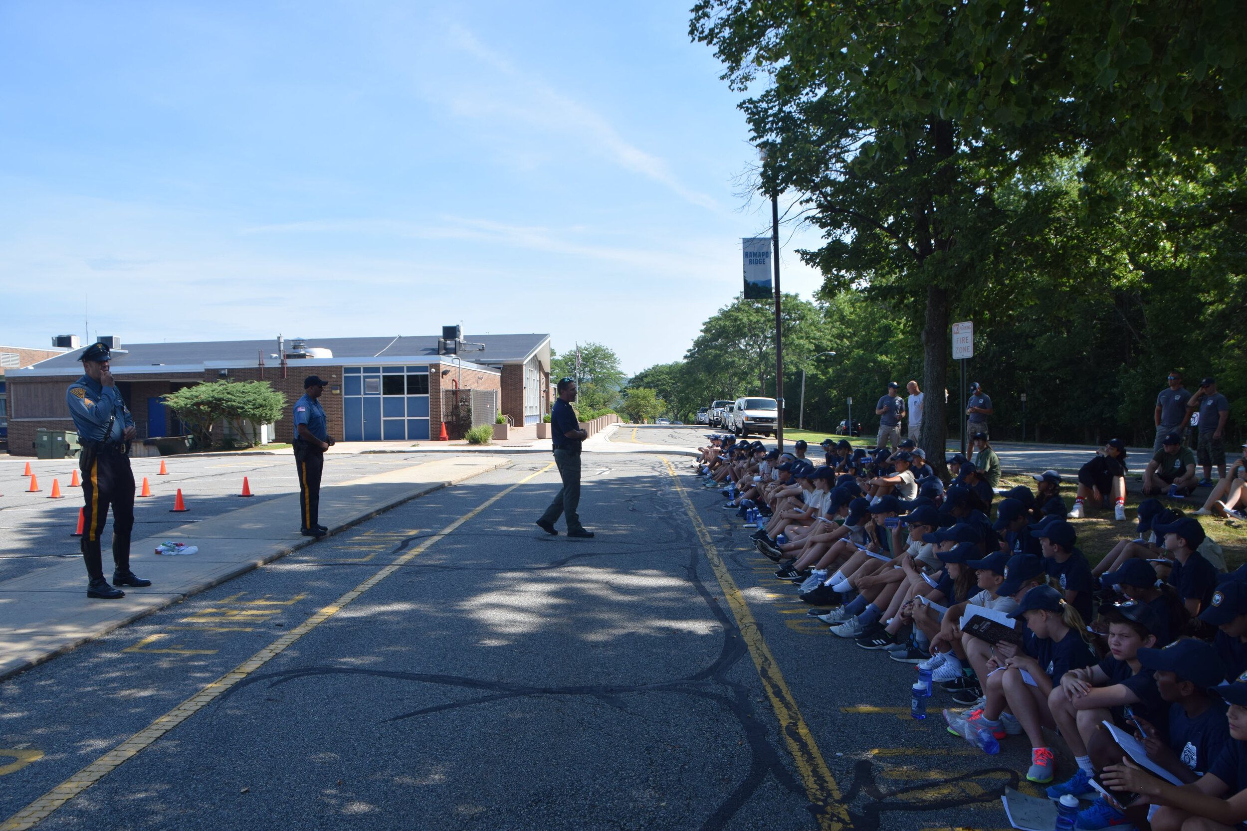 Mahwah Police officers with Junior Police Academy cadets
