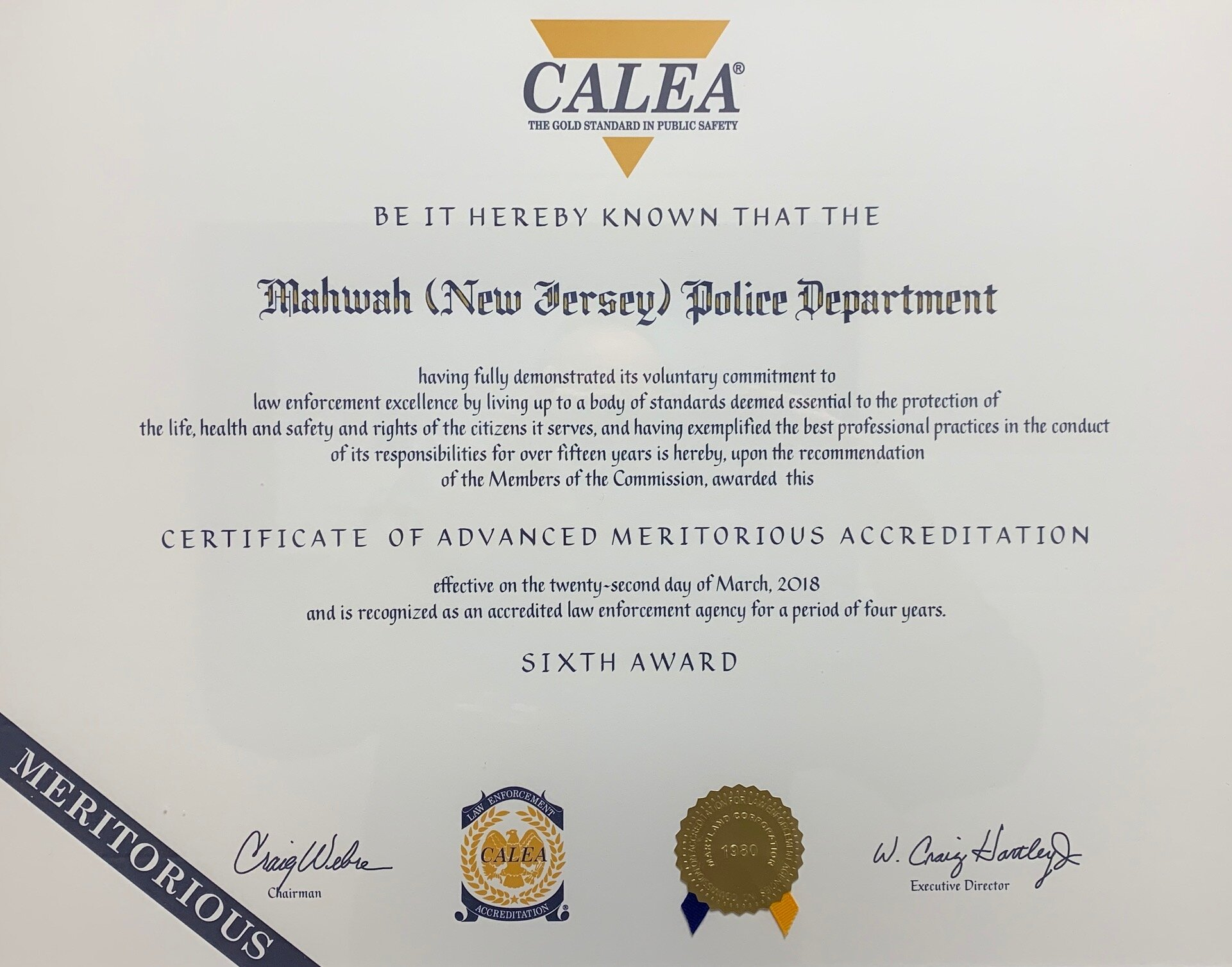 Commission on Accreditation for Law Enforcement Agencies mahwah nj certificate
