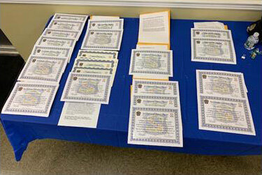Unit Citation and Awards laid out prior to ceremony