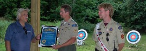 (Pictured L to R: Doug Engh, ESDF; Gerrod Hampel; Danny Yeager, 2012 Camp Tamarack Archery Director)