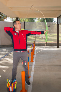 LA City Mayor Garcetti showed off his archery skills at the Easton Ranch Park Archery Range.