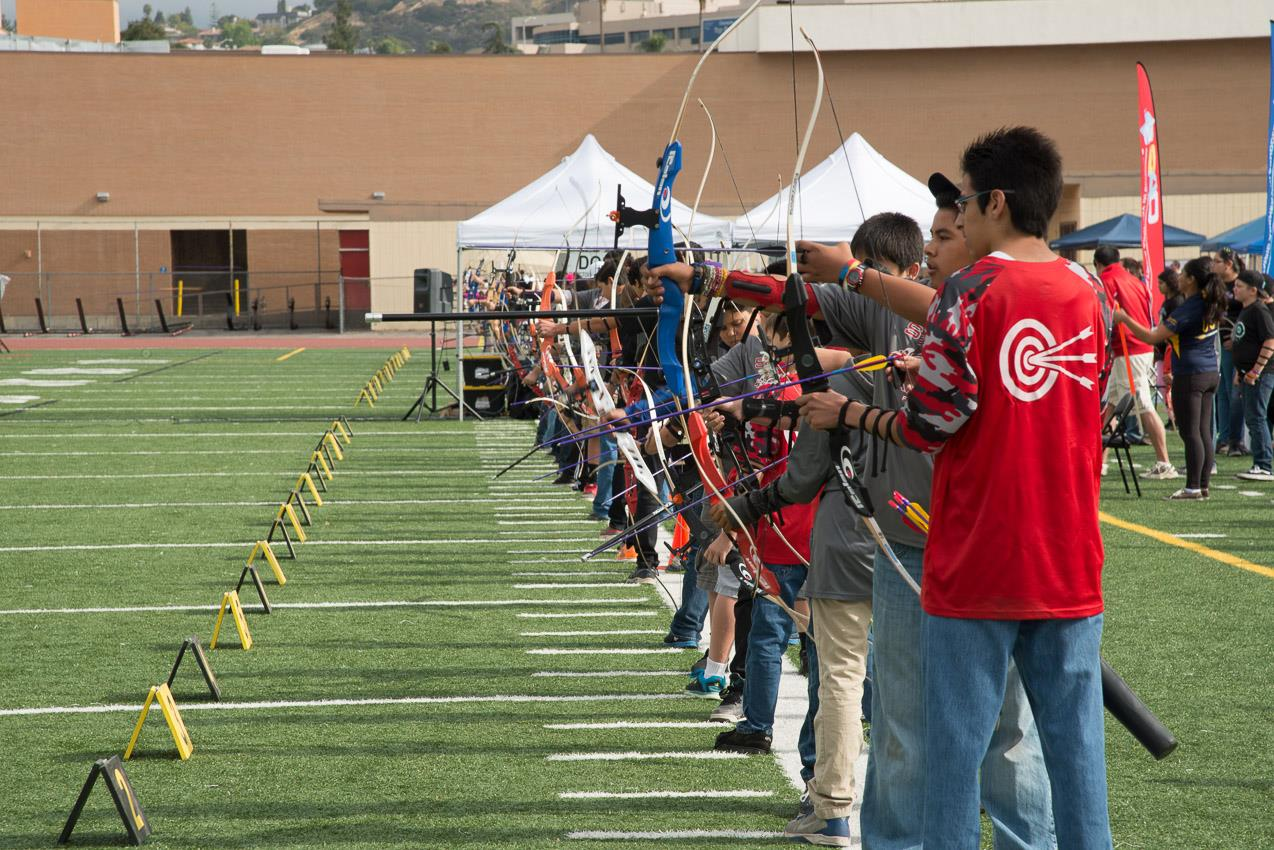 archery students in line