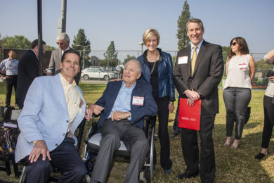 From left, Greg Easton, James L. Easton, Phyllis Easton, and Robert Gunsalus, CSUN's vice president for university advancement, at the celebration on Oct. 22 marking the opening of a new archery range and the creation of a fellowship in CSUN's College of Engineering and Computer Science. The Easton family, through the Easton Foundations, have given CSUN $1.5 million for the creation of the fellowship and to bolster resources for the Olympic-style sport of archery on campus. Photo by Lee Choo.