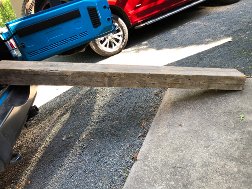 An old barn beam was purchased from a flea market in Iowa.
