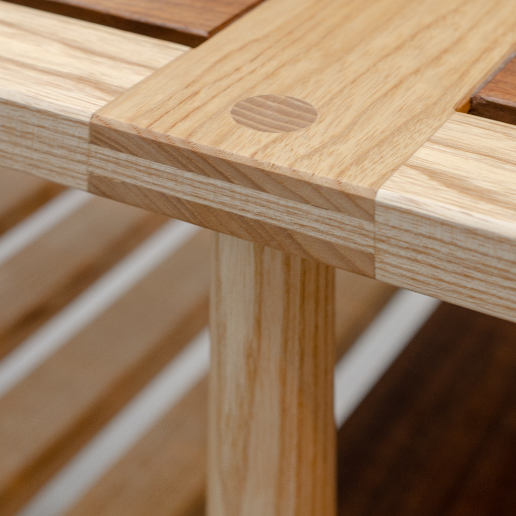 Joinery detail on seat of CLIVE bench