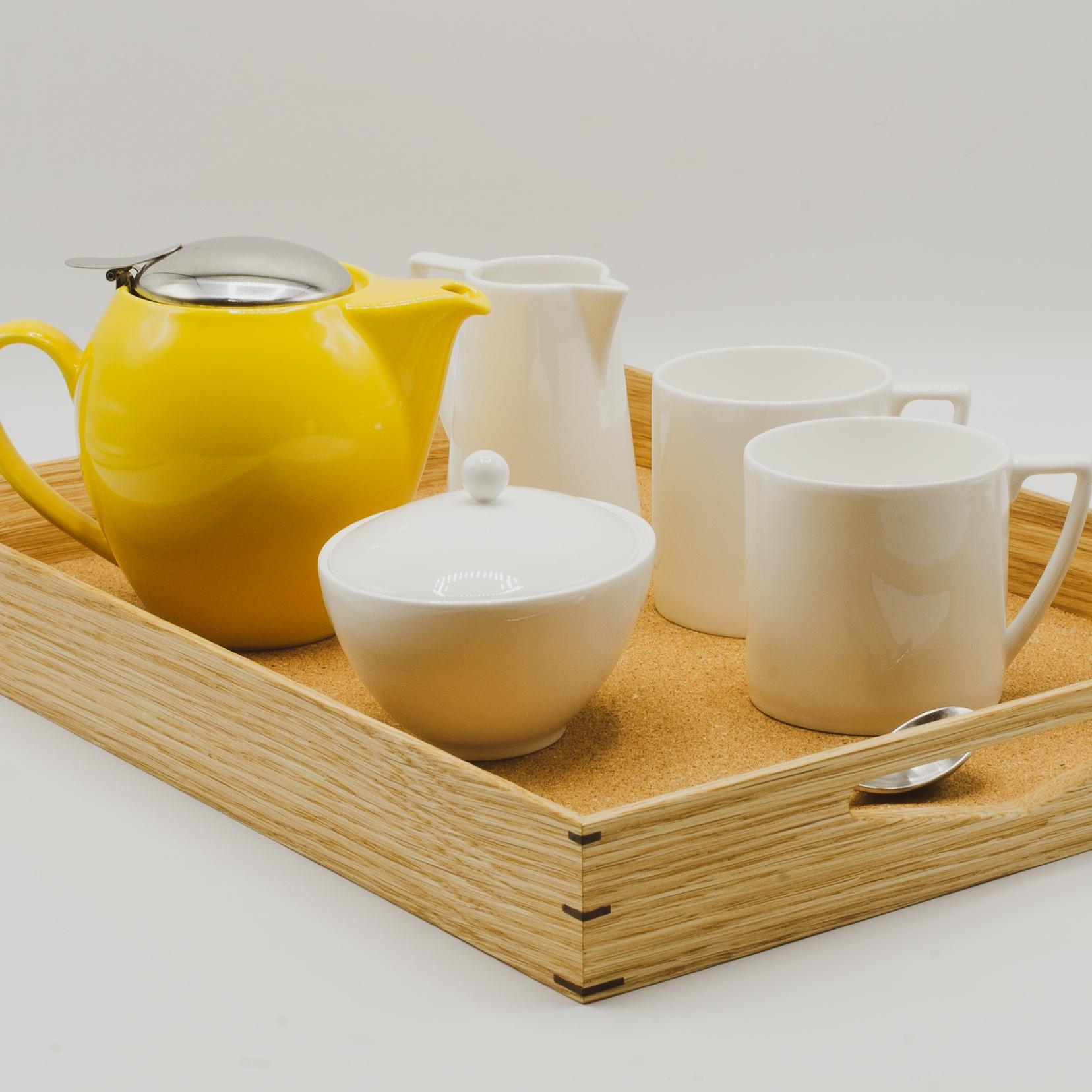 Oak and Cork Breakfast Tray -