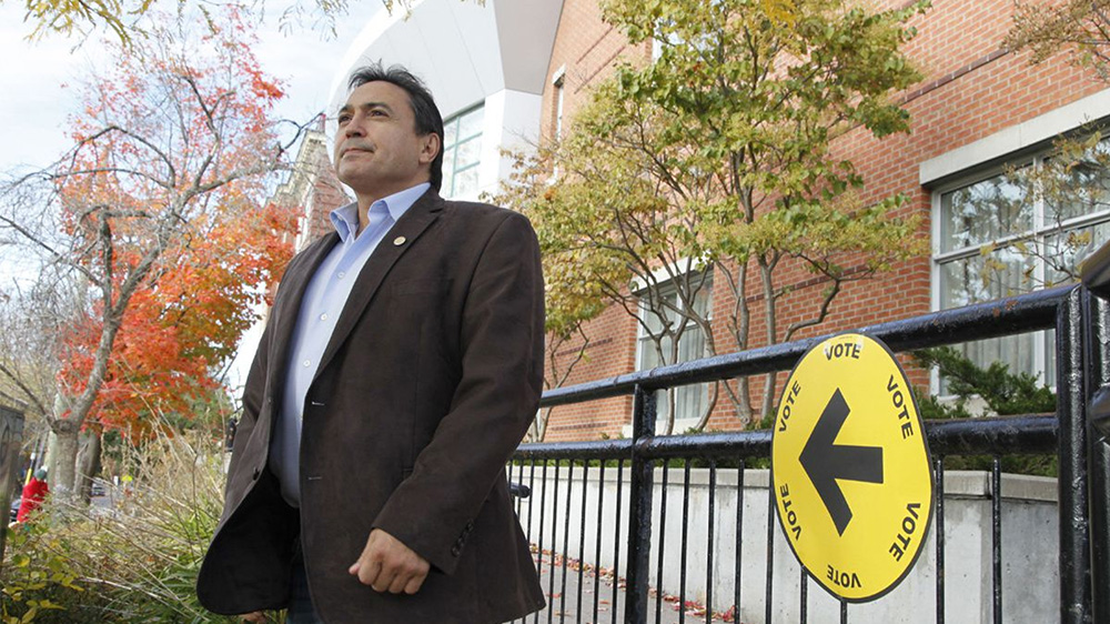 Assembly of First Nations National Chief Perry Bellegarde after casting his vote in the 2015 federal election in Ottawa. The turnout of aboriginal voters was so high that some communities ran out of ballots.(PATRICK DOYLE/THE CANADIAN PRESS)