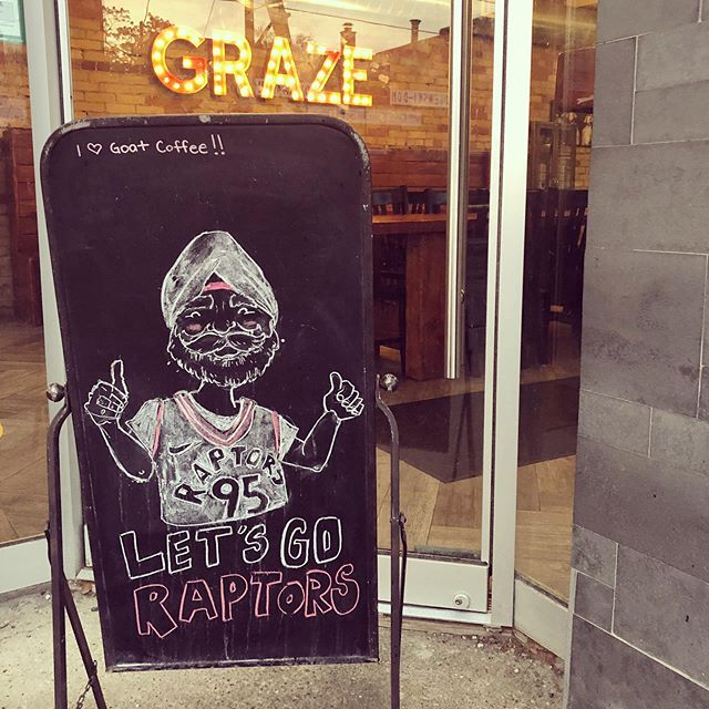 Tonight is the night!!! Let's go @raptors! #WeTheNorth 🏀 . . . #grazeatthegoat #toronto #the6ix #papevillage #danforth #eastyork #playter #iloveeastyork #foodie #torontolife #cafe #goatcoffeeco #chalkart #barista #raptors #game5 #superfan #goraptorsgo @navbhatiasuperfan #navbhatia