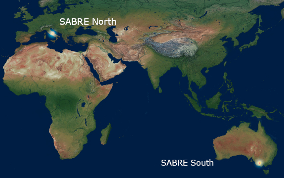 The locations of SABRE North (Italy, LNGS) and SABRE South (Australia, SUPL)