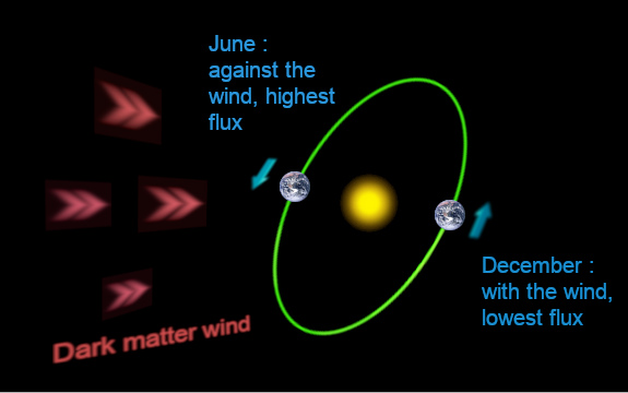 When Earth moves against the DM wind, particle flux increases; when Earth moves with the wind, particle flux decreases.
