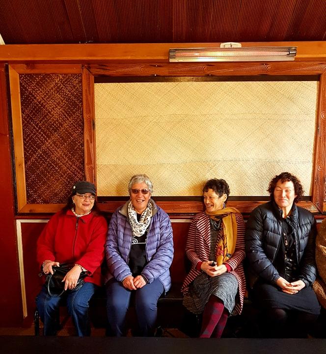 Photo (credit: Janine Davis) – from left to right – Meilene Pou, Pahi Lemon, Barb Rudd, and Deanna Rudd attend today's maramataka launch at Whakarongotai Marae.