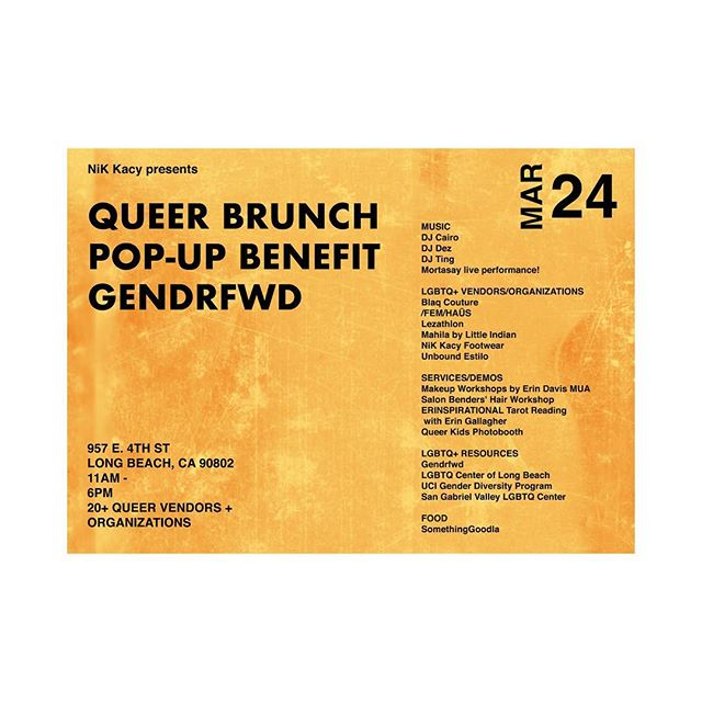 Join us in Long Beach Sunday March 24th for the biggest queer brunch pop-up benefitting @gendrfwd - We will be doing a photo booth on site for Queer Kids!  Brunch by @somethinggoogdla  Hosted by @salonbenders  Produced by @nikkacy of @nikkacyfootwear  Proceeds go to @gendrfwd thanks to fiscal sponsorship by @sgvlgbtq  Bring your slightly used clothing for the queer youth and adults of @centerlb , especially business and formalwear.  Vendors: @blaqcouture @femhausla @mahila_la @unbound.estilo  Hair tutorials by @Salonbenders  Makeup tutorials by @madeupbyerin (contact directly to schedule makeover appointments)  @Lezathlon will be present to accept signups for this year's camp in LA!  @erinspirational will be giving tarot readings @UCIPeds and our lgbtq centers will be present for outreach  Beats by:  DJ Cairo @dj_cairo_ DJ Dez @patricksagemendez  DJ Ting @dj_ting  Performance by @mortasay