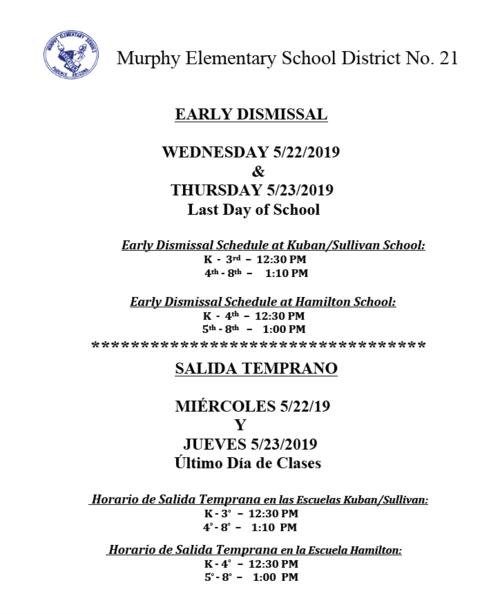 Hamilton County School Calendar.Murphy Elementary School District