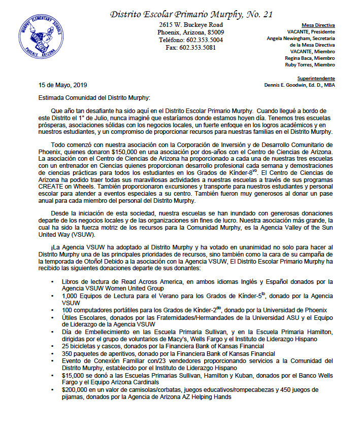 Page one of letter Spanish